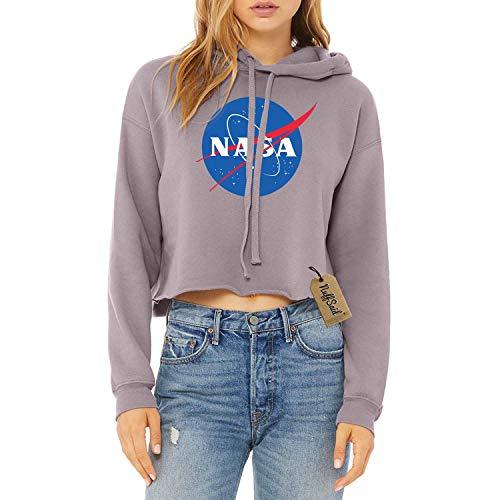 NuffSaid NASA Meatball Worm Logo Hooded Cropped Sweatshirt - Crop Top Hoodie (Small, Storm)