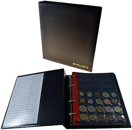 PELLERS AM350B Álbum de colección M para 350 Monedas 23mm de diámetro, 10 Fundas y cartulinas separadoras. para Peniques, centavos y Otros pequeños, Negro, Modelo M: Amazon.es: Hogar