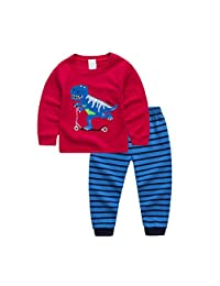 Jellyuu Kid's Pajamas Set Little Boys Girls Dinosour Outfits 2 Piece Clothing Sets