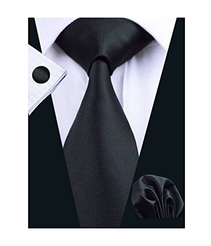 Barry.Wang Black Mens Tie Set Solid Color for Business Funeral - Design Printed Silk Tie