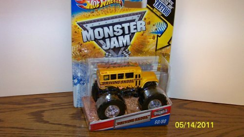 2011 Hot Wheels Monster Jam Originals  60 80 Driving Skool Bus 1 64 Scale Collectible Truck With Monster Jam Tattoo