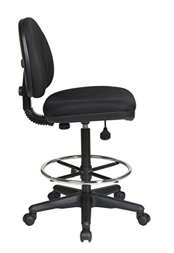 Office Star Drafting Chair with Lumbar Support, Black, 24.75 to 29.75-Inch Adjustable Height