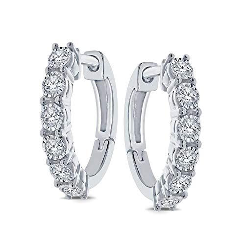 Triss Jewelry 1/5 Cttw Diamond Hoop Earring For Women in Sterling Silver