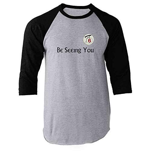 Be Seeing You Number 6 Cult Black L Raglan Baseball Tee Shirt -
