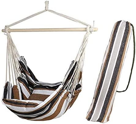 Morsun Hammock Chairs Hanging Rope Swing-Max 320 Lbs Patio Porch Yard Tree Hanging Air Swing Outdoor Pocket Quality Cotton Weave for Superior Comfort Durability Coffee