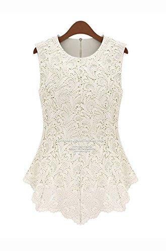 QinYing Women's Chiffon Vest Shirt Sleeveless Lace Tee Shirt Plus Size (XXXX-Large, White)