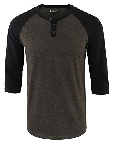 DESPLATO Men's Casual Vintage 3/4 Sleeve Henley Baseball Jersey Knit T Shirts H.Charcoal/Black XL