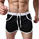 NUWFOR Men's Summer Fashion Simple Sports Fitness Shorts Home Beach Trousers(Black,US:M Waist29.1-33.1'')