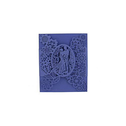 (20Pcs Laser Cut Wedding Invitation Card Groom Bride Carved Pattern Wedding Card Hollow Out Party Supply,Royal Blue,M)