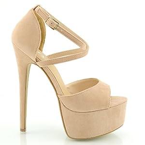 ESSEX GLAM Sandalo Donna Peep Toe con Lacci Plateau Tacco a Spillo Alto