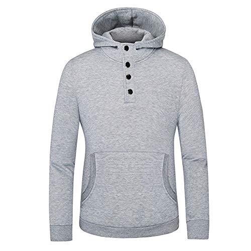 Mens Henley Hoodie Duseedik Casual Solid Long Sleeve Button Sweatshirt Coat Hooded Top -
