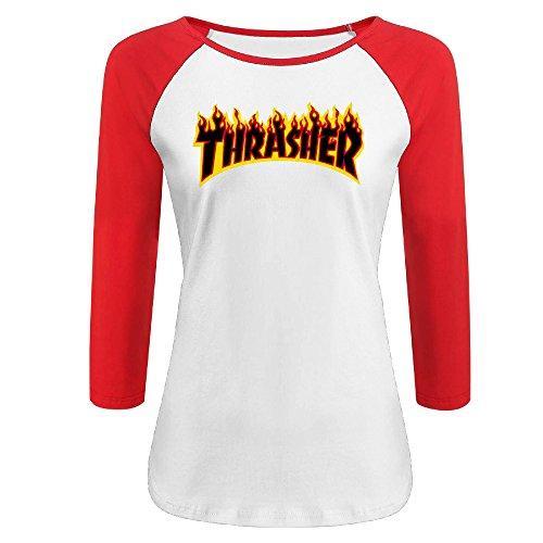 Liying Women's Thrasher Magazine Flame Logo Three-Quarter Sleeve Cotton Shirt XL -