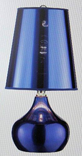 OK Lighting OK-818BL Blue Metallic Luster 3-Way Table Touch Lamp, 9.25
