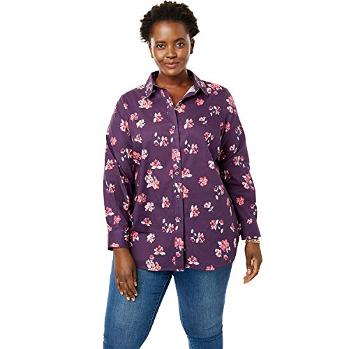 Woman Within Women's Plus Size Perfect Button Down Shirt - Purple Painted Flower, L ()