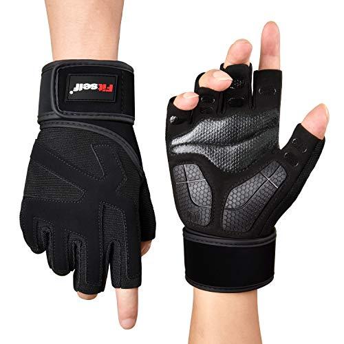 Fitself Fitness Handschuhe Herren Damen Gewichtheben Traininghandschuhe mit Handgelenkstütze Palm Schutz für Kraftsport Crossfit Bodybuilding Workout