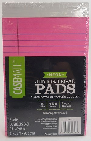 (Casemate Neon Junior Notepads Legal Ruled Bundle [3 Pink Pads, 150 Sheets] 5