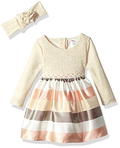 Youngland Toddler Girls' Sparkle Knit To Stripe Party Dress With Matching Headband, Gold/Brown Multi, - Special Long Sleeve Occasion Dresses