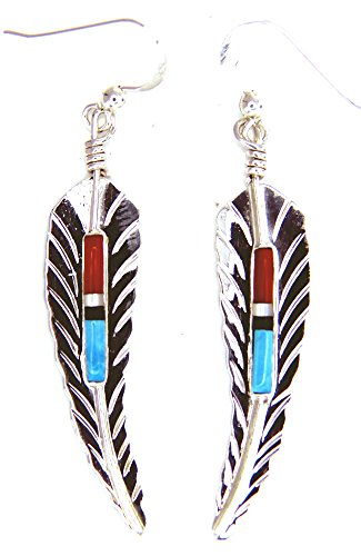 By Navajo Artist F. Barney A Beautiful and unique Navajo Feather Earrings