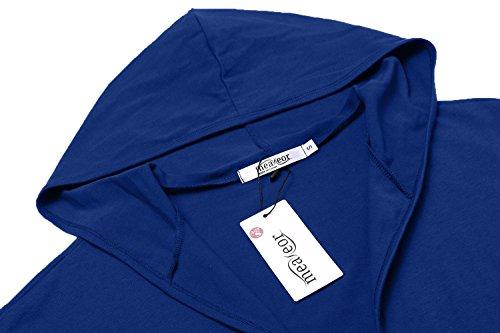 Uni Royal Haut Capuche Femme Long Ouvert Bleu Longue Manche Casual Meaneor Cardigan Gilet wTX4qTpa