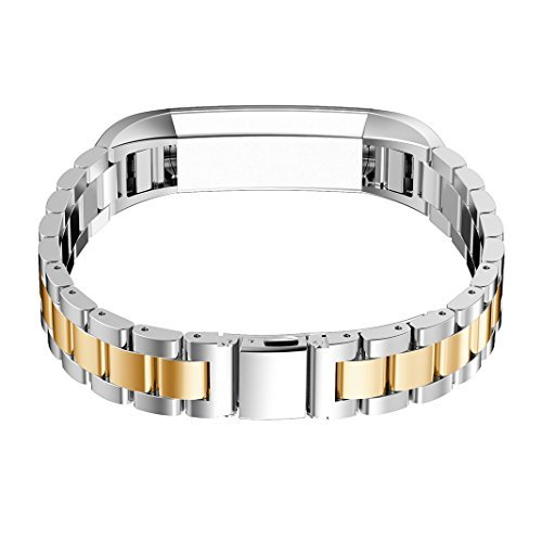 For Fitbit Alta Watch Strap, For Fitbit Alta HR Watch Band, Rosa Schleife Fitbit Fitness Stainless Steel Smart Watch Adjustable Replacement Strap Wrist Bands for Fitbit Alta/Alta HR - Silver/Gold