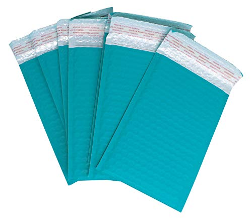 Bubble Mailers 6x9 Inches | Self Seal Padded Poly Mailing Envelopes | Teal - Bulk Pack of 50
