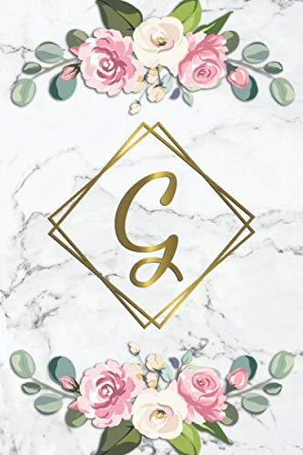 G: Lovely Monogram Letter G Initial College Ruled Notebook for Women and Girls – Cute Floral Personalized Medium Lined…