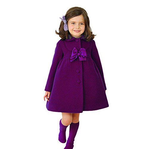Children Coat Cloak-Han Shi Toddler Kids Girls Butterfly Dish Lace Jacket Overcoat (Purple, 4T)