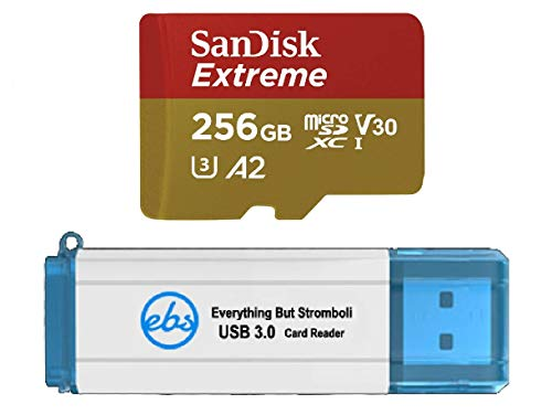 SanDisk 256GB Micro Extreme Memory Card for Samsung Phone Works with Galaxy S20, S20+, S20 Ultra, S20 FE 5G (SDSQXA1-256G-GN6MN) Bundle with (1) Everything But Stromboli 3.0 SDXC & MicroSD Card Reader