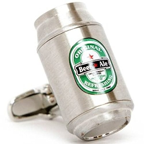 Beer Ale Can Cufflinks Brushed Aluminum Silver Alcohol + Box & Cleaner