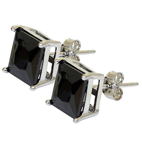 (Black Princess Cut Square Cz Stud Earrings on 925 Sterling Silver Rhodium Plated (8x8))