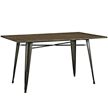 Stupendous Modway Alacrity 60 Rustic Modern Farmhouse Stainless Steel Metal Rectangle Kitchen And Dining Room Table In Brown Download Free Architecture Designs Lukepmadebymaigaardcom