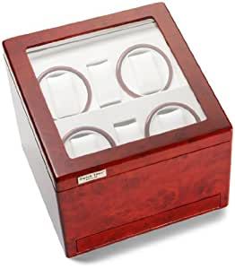 Diplomat Cherry Wood Quad Watch Winder with White Leather Interior