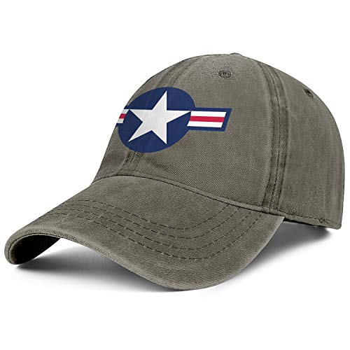 Outdoor Retro Mens Jean Baseball Caps Roundel of The United States Air Force Trucker Hat for Men Casual Jeans Denim Dad Hat for Women ()