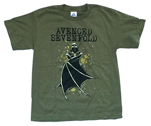 Avenged Sevenfold Wings (Avenged Sevenfold Bat Wings Kids Youth Green T Shirt (L))
