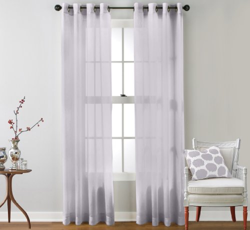 HLC.ME 2 Piece Sheer Window Curtain Grommet Panels (Silver) - 95