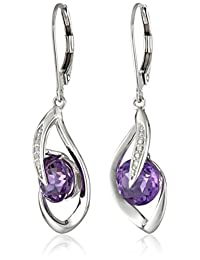 10k White Gold Gemstone and Diamond Accent Flame Drop Earrings