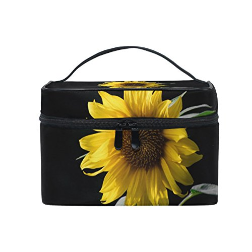 SAVSV Travel Makeup Bags With Zipper Sunflower In The Dark Cosmetic Bag Toiletry Bags Train Cases Storage Bags Portable Multifunction Case for Women Girls]()