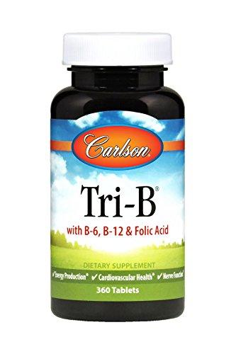 Carlson Tri-B, Folic Acid + Vitamin B-6 & B-12, 360 Tablets