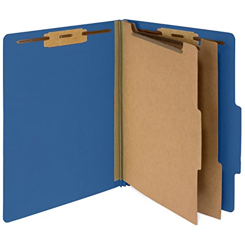 10 Dark Blue Classification Folders, 2 Divider, 2'' Tyvek Expansions, Durable 2 Prongs designed to Organize Standard Medical Files, Law Client Files, Letter Size, Dark Blue, 10 PACK (326) - Pressboard Classification Folders