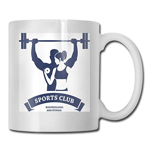 Funny Ceramic Novelty Coffee Mug 11oz,Sports Bodybuilders Club Man And Woman With Dumbbells Muscles Biceps Form,Unisex Who Tea Mugs Coffee Cups,Suitable for Office and Home