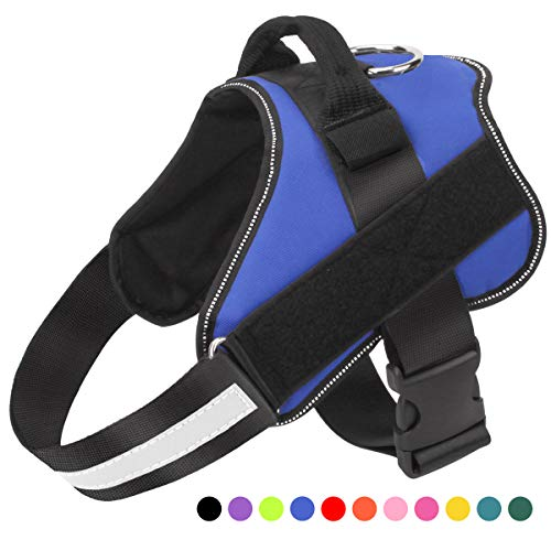 Dog Harness No Pull Reflective Adjustable Pet Vest with Handle for Outdoor Walking- No More Pulling, Tugging or Choking(Blue,L)