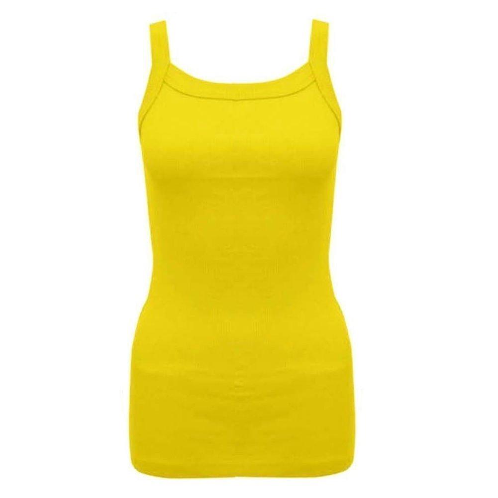 Vogueland WOMENS PLAIN BRIGHT STRETCHY LADIES RIBBED VEST TOP T SHIRT RIB  STRAP SIZES 8-16: Amazon.co.uk: Clothing