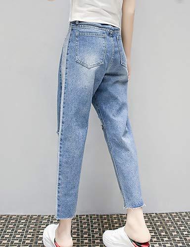 Color sólido Mujeres Vaqueros YFLTZ Blue Las de Pantalones Delgados RFwYp0