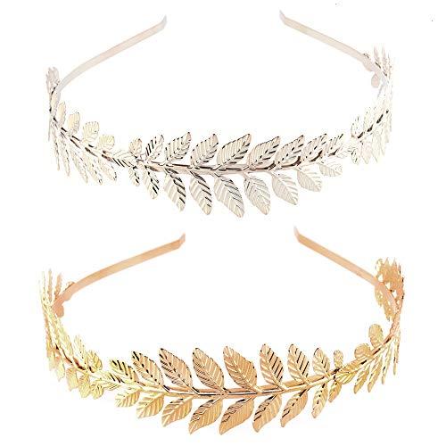 Feeko Headbands, 2PCS Roman Goddess Leaf Branch Exquisite Bridal Crown Tiara Hair Band Gold and Silver -