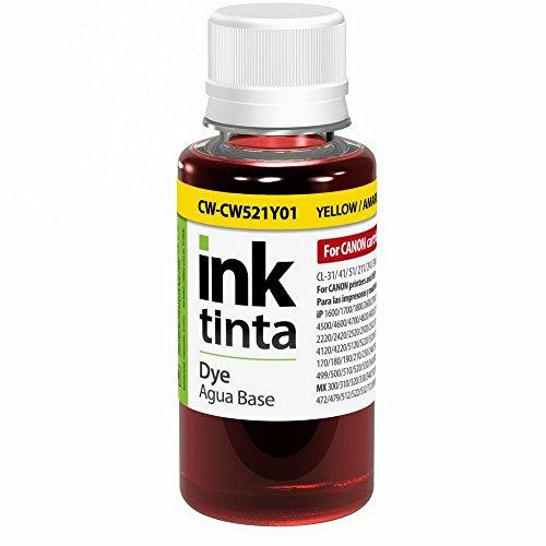 ColorWay Refill Ink Canon CL-38/CLI-521 Yellow CW521Y 3.38floz, 100ml (CW-CW521Y01)