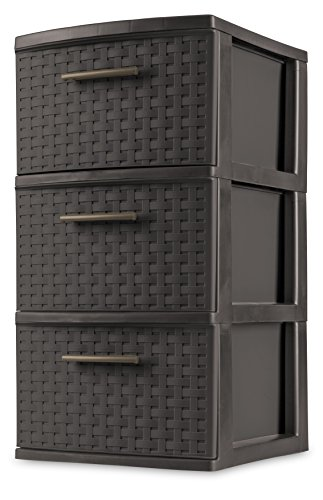 sterilite-26306p02-3-drawer-weave-tower-espresso-frame-drawers-w-driftwood-handles-2-pack
