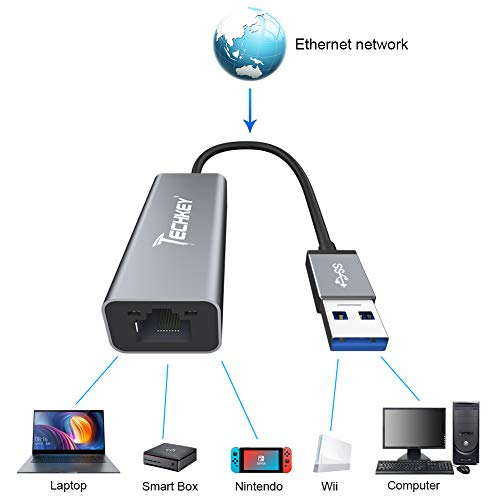 Ethernet Adapter USB 3.0 to Network, Techkey USB to RJ45 Gigabit LAN / Windows XP / for Mac OS X /10.9-11.1, 10/100/1000 Mbps Ethernet Supports Nintendo Switch / MacBook / Chromebook