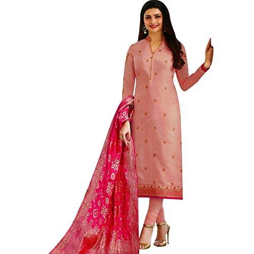 - Laxminarayan Georgette Satin Embroidered Churidar Straight Salwar Suit with Pure Banarasi Silk Dupatta (Peach, 0X-Plus)