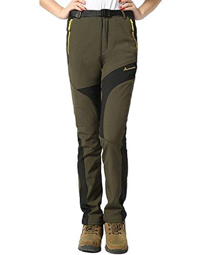 KING Shield Women's Thick Warm Soft Shell Fleece Pants Windproof Ski Pants (US 12, Green) - Shield Fleece Pant