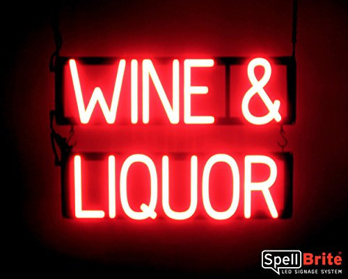 (SpellBrite Ultra-Bright WINE & LIQUOR Sign Neon-LED Sign (Neon look, LED performance))